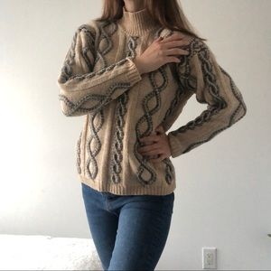 Vintage grandma thick wool sweater cable knit mock